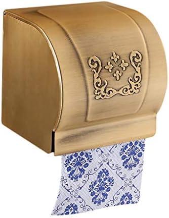 GONDD ティッシュボックススペースアルミロールホルダーヨーロッパアンティークトイレットペーパートレイ無料パンチ/パンチ兼用インストール、トイレのバスルームに適して、サイズ:12.8 x 12.8 x 12.5 cm (Color : Brass)