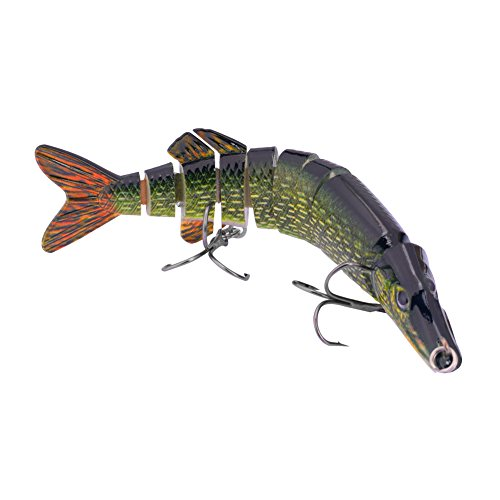 BOMSO 1pc 5in 0.7oz Lifelike Multi Jointed 8 Segement Swimbait Crankbait Hard Bait Pike Muskie Fishing Lure Fish Artificial Bait Treble Hook (ColorD)