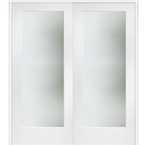 National Door Company Z009327ba Primed Mdf Both Active Interior French Double Door 1 Lite Satin