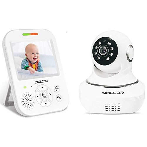 Baby Monitor - 3.5 inch Ips Display, Motorized Pan/Tilt, Infrared Night Vision, 960ft Transmission Range, Temperature Monitoring, Two Way Talk Function Include Compatible Mount Shelf (White)