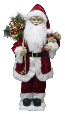 Animated Figurine (TRUE VALUE COMPANY Animated Christmas Santa w/Teddy Bear & LED Toy Sack, 28