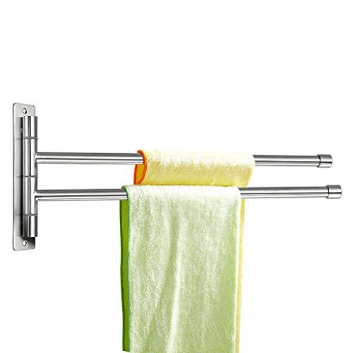 Swing Rail Towel (Sumnacon trade; Silver Stainless Steel Wall-Mounted Towel rail Swivel Bars Bathroom Towel Rack Hanger Holder Organizer (2 Bar))