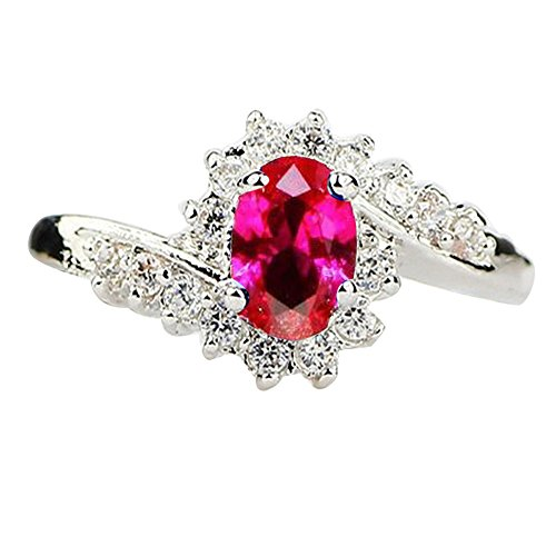 Valentine's Day Rings, 925 Copper Rings,Exquisite Natural Gemstones Bride Princess Wedding Engagement Strange Ring Ladie's Jewelry Gift (Hot Pink, 6)