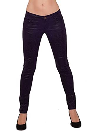 Women's Casual Party Fitted Metallic Denim Low Rise Zip Fly Long Skinny Jeans