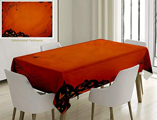 Unique Custom Cotton And Linen Blend Tablecloth Halloween Decorations Grunge Design Spider Web Pumpkins Horror Time Of The Year Trick Or TreTablecovers For Rectangle Tables, Small Size 48 x 24 Inches -