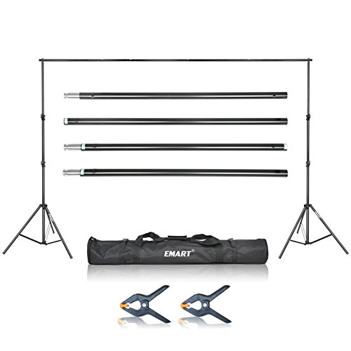 Emart Photo Video Studio 9.2x10 feet Heavy Duty Adjustable Muslin Background Backdrop Support System Stand Kit with Carry Bag
