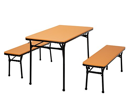 COSCO 3 Piece Indoor Outdoor Table and 2 Bench Tailgate Set, Orange Top, Black Frame