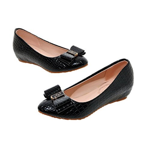 Heels Round On Pull Shoes Black PU Odomolor Low 36 Toe Pumps Women's Solid xqwSnnB0OE