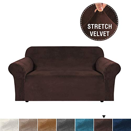 - H.VERSAILTEX Real Velvet Plush Sofa Cover, High Stretch Luxury Sofa Slipcover/Loveseat Furniture Cover/Slip Covers, Soft and Thick Velvet Fabric, Added Straps, 2 Seater Loveseat Cover, Brown