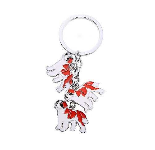 BBEART Dog Keychain, Pet Pendant Key-Ring, Cute Puppy ID Tags Metal Key Ring for Dog Lover (Saint Bernard)