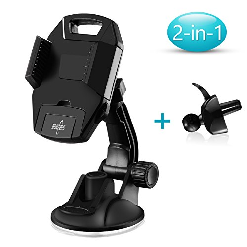 NONZERS Car Phone Holder- One-click Release,Strong Suction Cup Mobile Phone Holder,Three-Sided Adjustable Handle,Anti-slip and Anti-Shake,360° Rotating Windshield Dashboard Universal Car Phone mount