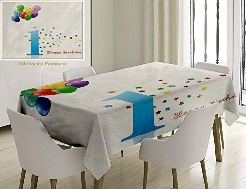 Unique Custom Cotton and Linen Blend Tablecloth 1St Birthday Decorations Kids Party Theme One with Abstract Colorful Stars and Balloons Art Tablecovers for Rectangle Tables, Small Size 48 x 24 inches ()