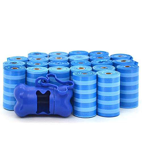 Best Pet Supplies, Inc. BPS - Thick Waste Poop Bags with Dispenser - Scented, Blue Stripes, 360 Bags