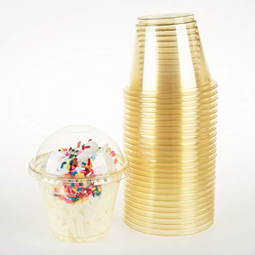 GOLDEN APPLE, 9oz-25sets Yellow Plastic Cups with Clear Dome lids No Hole