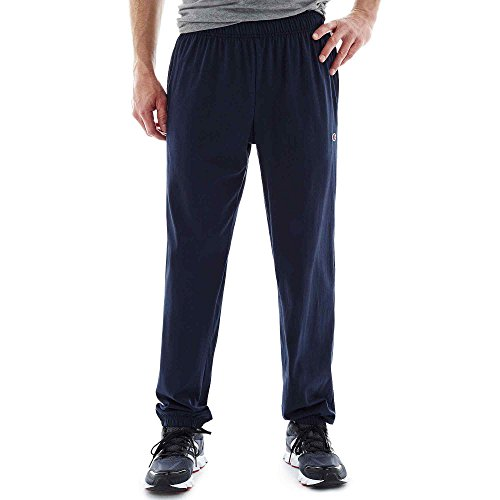 Hanes P7310 Mens Closed Bottom Jersey Pants, Navy Blue - Large