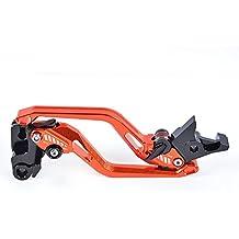 Tencasi Orange New Long Rhombus Hollow Adjustable Brake Clutch Lever for KTM 390 Duke/RC390 2013-2017, 200 Duke/RC200 2014-2016, RC125/125 Duke 2014-2017