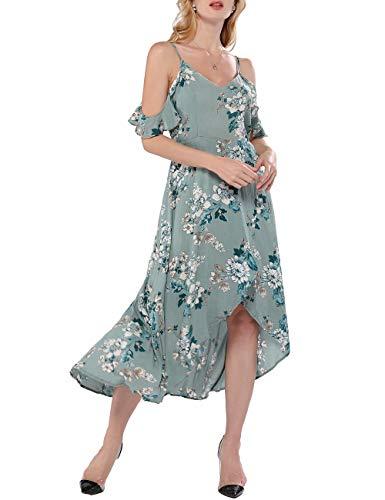 Azalosie Women Spaghetti Stap Maxi Dress Cami Floral Cold Shoulder V Neck Flowy High Low Summer Beach Party Wedding Dress Light Green