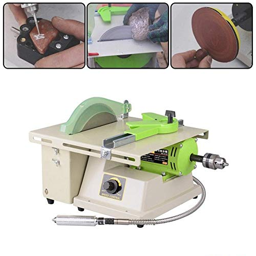 Cutting Speed Lathe - TongBF Multifunctional High-Power Jade Wood Carving Tool Jewelry Rock Polishing Drilling Bench Lathe Electric Grinder for Cutting and Polishing, 220V 1380W 500~7000rpm