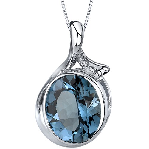 - Boldly Colorful 5.00 carats Oval Cut Sterling Silver Rhodium Nickel Finish London Blue Topaz Pendant