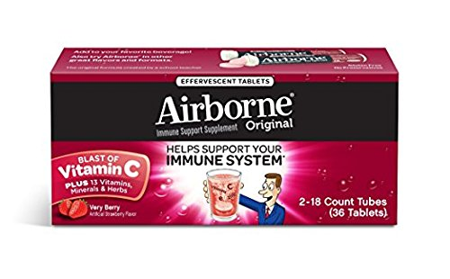 Airborne Immune Support Supplement Effervescent Formula, Very Berry, 2Pack ( 72 Count Tablets Total) Nksl3hk by Airborne