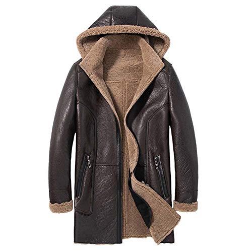 Denny&Dora Mens Shearling Jacket Hooded Leather Jacket Long Fur Coat Natural Sheepskin Coat Wool Coat