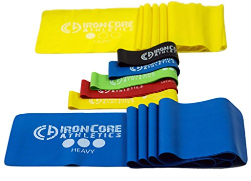 "Iron Core Athletics Loop and Flat Exercise Stretch Bands : Set of Five 10"" Resistance Loop Bands and Two 5ft Flat Bands, Perfect for Yoga / Pilates / Physical Therapy"