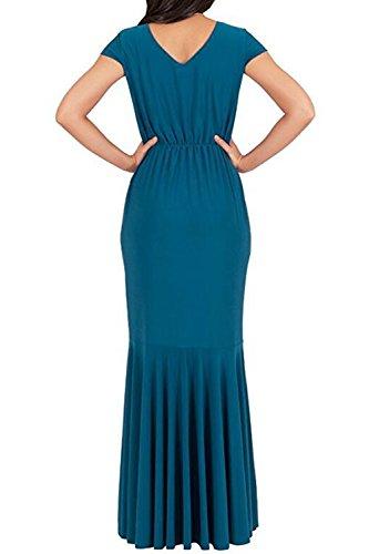 La Mujer Elegante De Manga Corta Patchwork Swing Maxi Vestidos De Noche Vestidos De Baile Blue