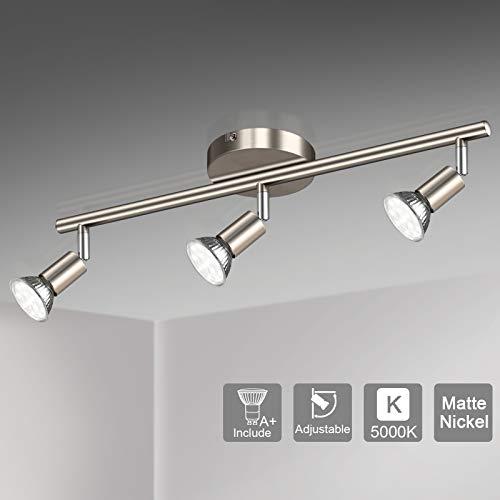 Unicozin LED 3 Light Track Lighting Kit, Matt Nickel 3 Way Ceiling Spot Lighting, Flexibly Rotatable Light Head, Track…