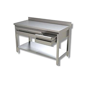 Mesa de acero inoxidable con estante + cajonera + Alzatina ...