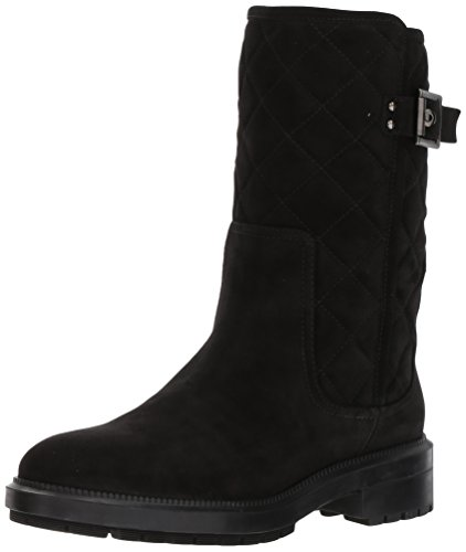 Aquatalia Women's Layla Suede Motorcycle Boot Black 5.5 M US