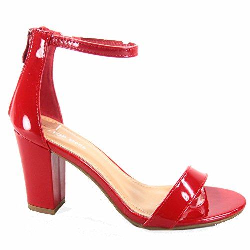 Patent Red Sandals (Top Moda Hannah-1 Women's Fashion Ankle Strap Evening Dress High Heel Sandal Shoes (7 B(M) US, Red Patent))