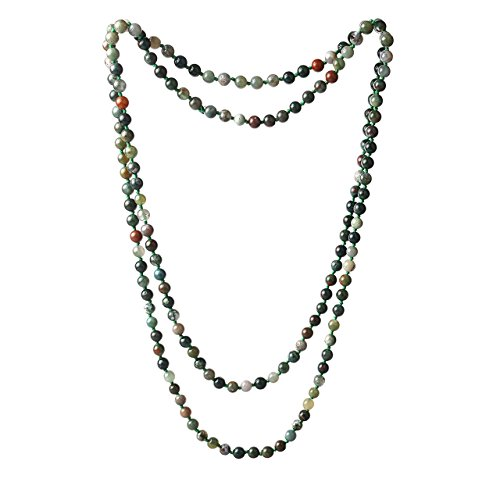 "6mm Crystal Beads Long Necklace Stone Strand Handmade Necklaces 47"" (INDIA AGATE G)"