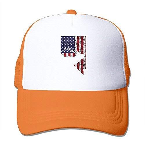 (Abdul. Nevada USA Elk Men Women Adjustable Snapback Hats Dad Hats   Baseball Caps Mesh Back Orange)