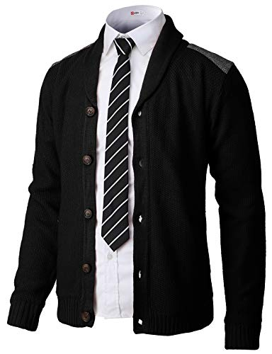 Button Up Sweater Vest - H2H Mens Classic Shawl Collar Button Up Cardigan with Shoulder Point Black US S/Asia M (CMOCAL028)