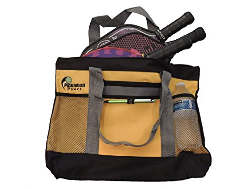 """Zipper Top"" Tote Bag features a secure zipper top with a large main compartment which will easily hold at least THREE Pickleball paddles as well as balls, clothes, and numerous personal items. New/Embroidered - Yellow & Grey - PICKLEBALL MARKETPLACE"