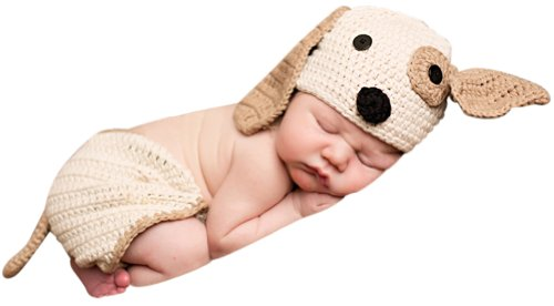 (Melondipity Perfect Puppy Dog Baby Hat & Diaper Cover SET - Newborn / Infant)