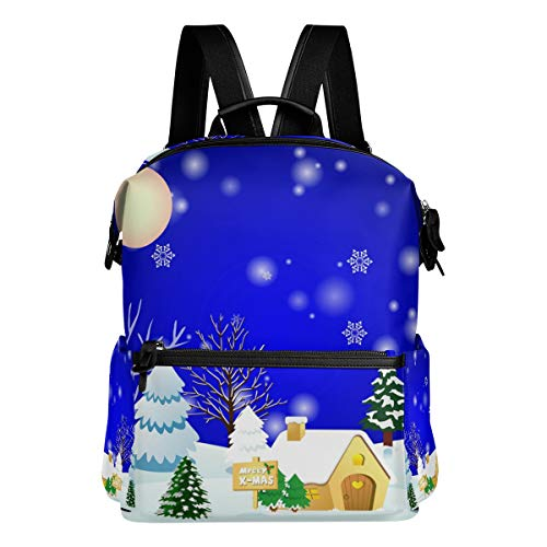 Christmas Town School Backpack Large Capacity Polyester Rucksack Satchel Casual Travel Daypack for Adult Teen Women Men Children
