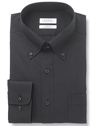 Enro Men's Non Iron Button Down Collar Dress Shirt (Black, 17.5 34/35)