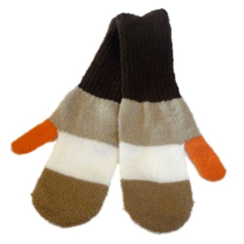 Brown Tan Stripe Soft Knit Mittens