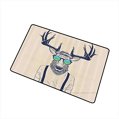 Jbgzzm Entrance Door mat Antlers Decor Illustration of Deer Dressed Up Like Cool Hipster Fashion Creative Fun Animal Art Print W24 xL35 Quick and Easy to Clean Beige Black -
