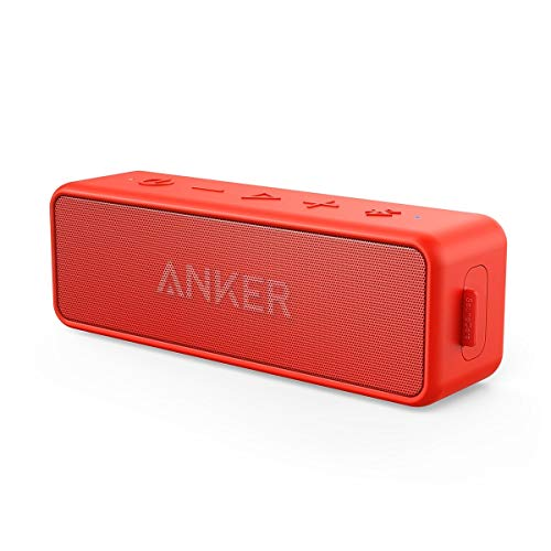 Anker Soundcore 2 Portable Bluetooth Speaker with Better Bass, 24-Hour Playtime, 66ft Bluetooth Range, IPX7 Water Resistance & Built-in Mic, Dual-Driver Wireless Speaker for Beach, Travel, Party- Red