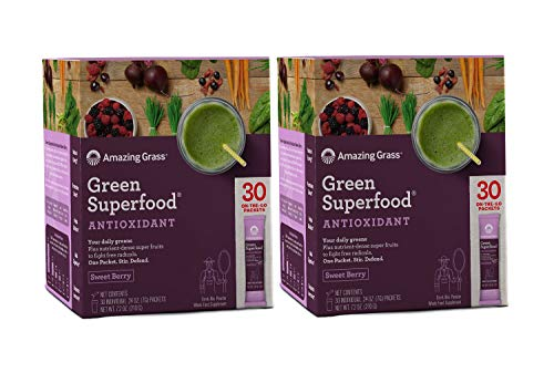 Amazing Grass Green Superfood Antioxidant Organic Powder with Elderberry, Wheatgrass and 7 Super Greens | Sweet Berry: 30 Count Packets Non-GMO w/ 15,000 ORAC Units per serv (2 Pack- 60 Serve) (Green Antioxidant)