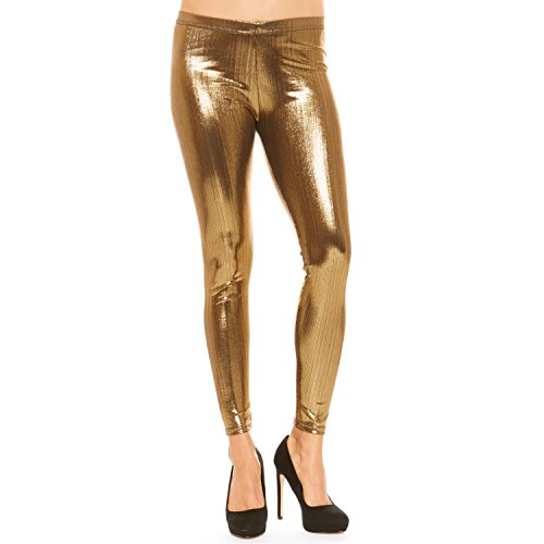 Just One Women's Warm Full-Length Seamless Gold Shiny Metallic Stretch Leggings (Gold Sparkle, -