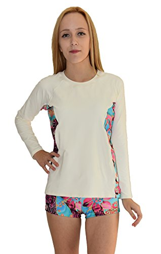 Private Island Hawaii Women Wetsuits Long Sleeve Rash Guard Top (Small, White with SkyBlue and Pink)