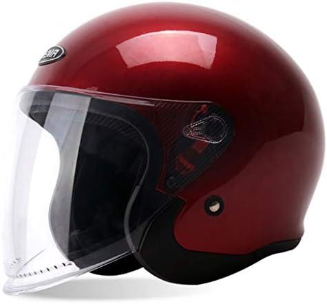NJ ヘルメット- 電動オートバイのヘルメットの男性と女性の四季の防曇ヘルメット (色 : 赤, サイズ さいず : 34x24x23cm)