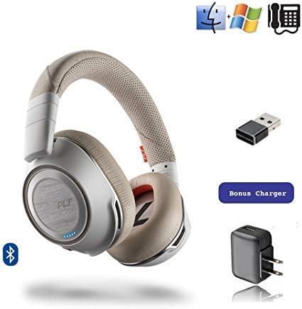 Plantronics Voyager 8200-UC Stereo Bluetooth Headset USB Dongle 208769-02 Bonus AC Charger White