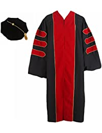 Unisex Deluxe Doctoral Graduation Gown With Gold Piping and Bkack Doctoral Tam Package