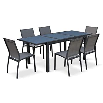 Salon de Jardin Table Extensible - Orlando Gris foncé - Table en ...