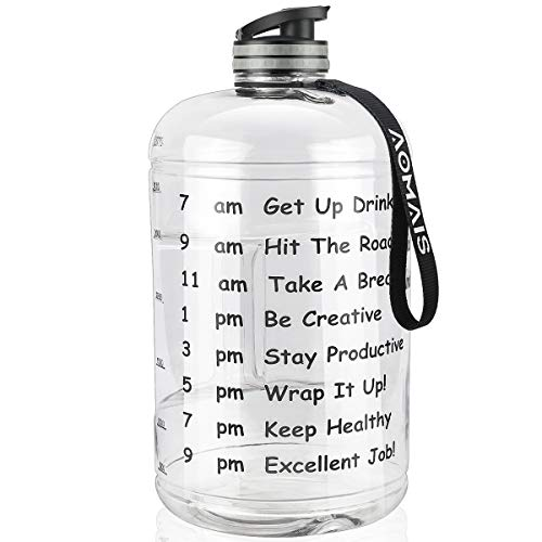 AOMAIS Gallon Water Bottle with Motivational Time Marker, Large 128 oz, Leak-Proof, Wide Mouth, BPA Free Water Bottles for Sports Gym Fitness Work(1 Gallon,Transparent)