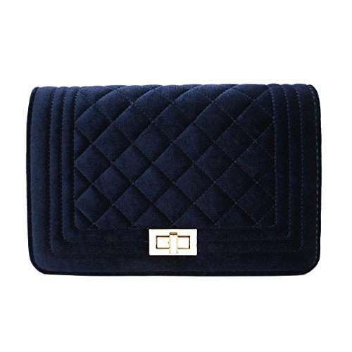 (Classic Quilted Velvet Flap Clutch Handbag Crossbody Shoulder Bag, Navy)